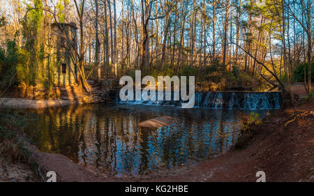 Panoramic view of the spillway waterfall and the tower in the Lullwater Park, Atlanta, USA - Stock Photo