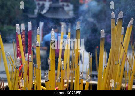 incense burning at po lin monastery on lantau island hong kong - Stock Photo
