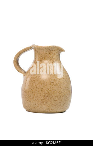 Terracotta Old pitcher, isolated on white background - Stock Photo