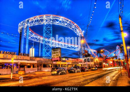 Town of Blackpool, England. Artistic night view of Blackpool Pleasure Beach. This photograph has been produced by - Stock Photo