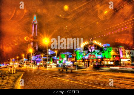 Town of Blackpool, England. Night view of Blackpool Illuminations and Blackpool Tower. This photograph has been - Stock Photo
