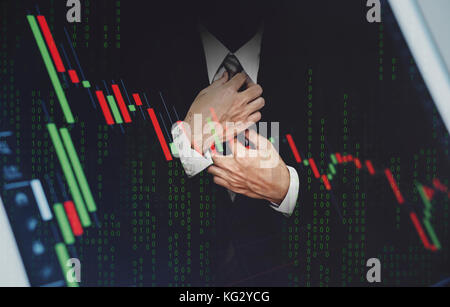 Double exposure businessman, with stock exchange graph. Development and growth in stock market and business investment - Stock Photo