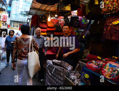 A colorful market in Hong Kong's Li Yuen Street East. - Stock Photo