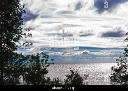 Water Bay for trees with blue sky - Stock Photo