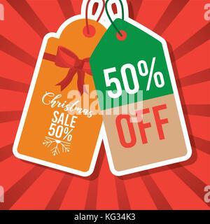 christmas sale tag price 50 percent off marketing - Stock Photo