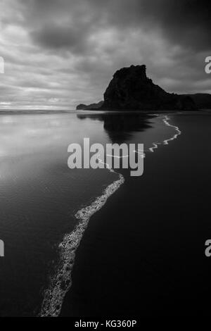 Looking towards Lion Rock at Piha on Auckland's West Coast, New Zealand - Stock Photo