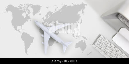 booking and search flight ticket air travel trip vacation concept, banner web template - Stock Photo