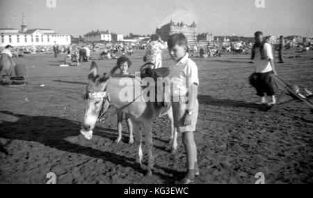 A boy and a girl pose with a donkey on a beach in the UK.  c1958  Photograph by Tony Henshaw - Stock Photo
