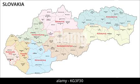 Slovakia political map with capital Bratislava national borders and
