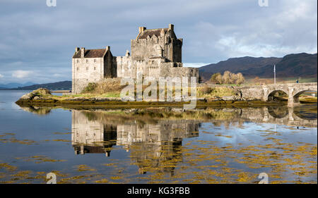 Eilean Donan Castle with reflections, Highlands, Scotland - Stock Photo