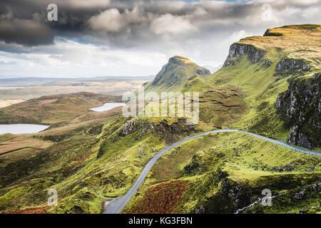 Landscape view of Quiraing mountains on Isle of Skye, Scottish highlands, Scotland, United Kingdom - Stock Photo