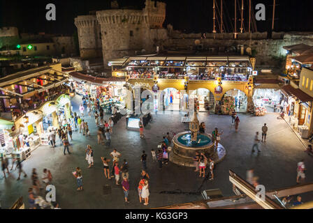 Rhodes, Greece - August 29, 2015: Hippocrates square in the historic Old Town of Rhodes Greece - Stock Photo