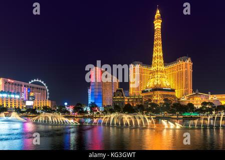 Las Vegas Strip at night - Stock Photo