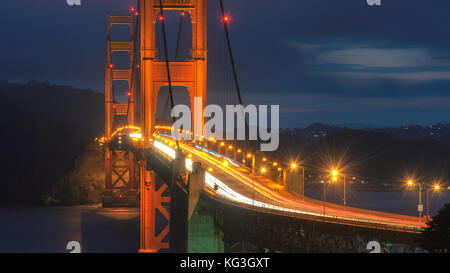 Golden Gate Bridge at night seen from San Francisco, California. - Stock Photo
