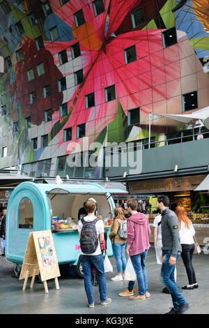 Interior of the Markthal in Rotterdam, a food hall design by MVDRV architects. The art ork is made by Arno Coenen - Stock Photo