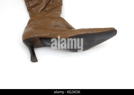 Brown Leather Knee High Boots With High Heels - Stock Photo