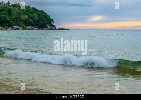 Stunning sunset over ocean. Scenic sun sets scenery over ocean waves rocks and palm tree. - Stock Photo