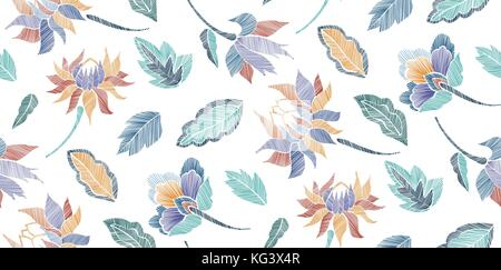 Floral seamless background pattern with fantasy flowers and leaves Line art. Embroidery flowers. Vector illustration. - Stock Photo