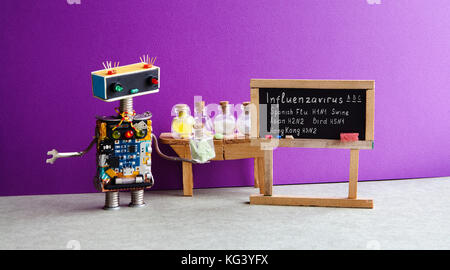 Types of Influenza Viruses poster. Doctor robot antiviral drugs tube, chalkboard Flu variations infographic handwritten: - Stock Photo