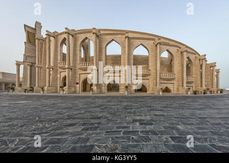The amphitheater in Katara Cultural Village, Doha Qatar panoramic view in daylight from outside. - Stock Photo