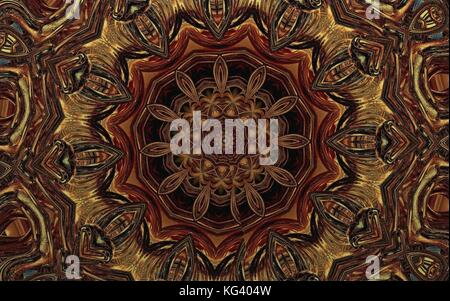 abstract carpet background element of oriental mandala pattern in brown color - Stock Photo