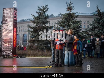 More than 5,000 people took part in a ceremony in Moscow's Lubyanka Square on October 29, 2017, to commemorate the - Stock Photo