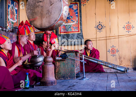 Music at traditional festival in Bumthang - Bhutan - Stock Photo