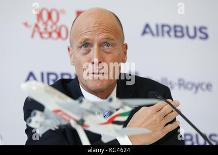 Hamburg, Germany. 3rd Nov, 2017. Head of Airbus Thomas Enders speaks during a press conference at the airbus factories - Stock Photo