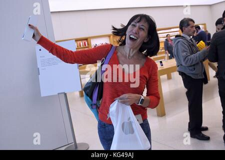 A customer shows the newly released iPhone X at an Apple Store in Mexico City, Mexico, 03 November 2017. Apple launched - Stock Photo