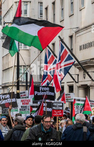 London, UK. 04th Nov, 2017. National Palestine March and Rally - Justice Now: Make it right for Palestine. As the - Stock Photo