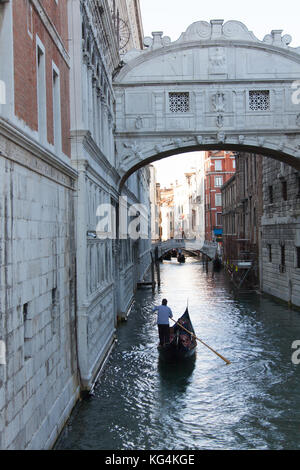 City of Venice Italy. Picturesque view of the Bridge of Sighs over the Rio di Canonica Canal. - Stock Photo