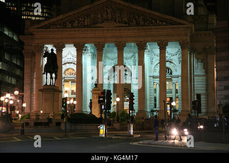 The Royal Exchange in the City of London at night - Stock Photo