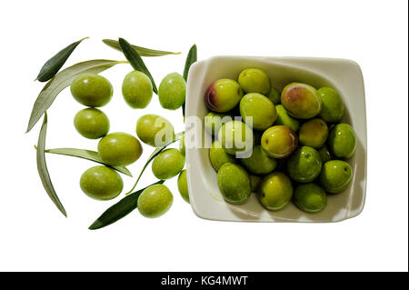 Shot from above of fresh olives freshly picked isolated on white background - Stock Photo