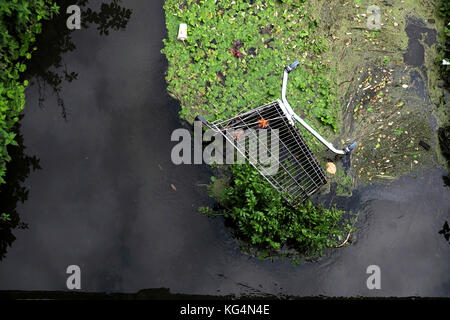 An abandoned shopping trolley dumped in a local river causing  environmental damage in Bristol, England, UK - Stock Photo