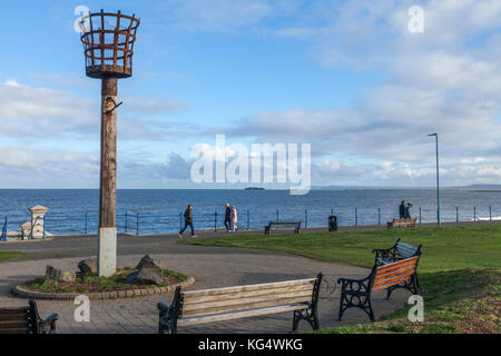 The seafront and beacon at Seaton Carew,England,UK - Stock Photo