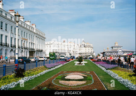 The Carpet Gardens and Grand Parade on Eastbourne seafront, East Sussex, UK - Stock Photo