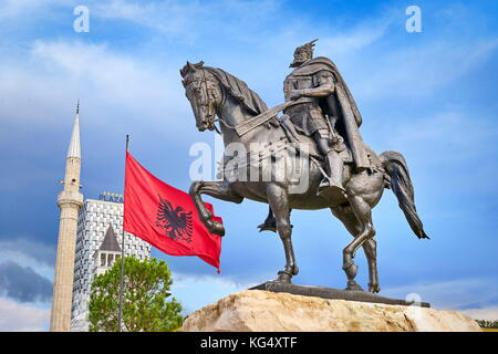 Albania, Tirana - statue of Skanderbeg, Skanderbeg Square - Stock Photo