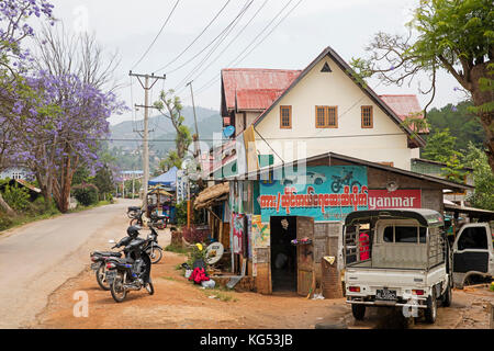Primitive garage in the hill town Kalaw, former colonial British hill station, Taunggyi District, Shan State, Myanmar - Stock Photo