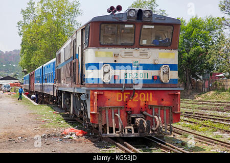 Old train on the Burma railway at the town Aungban in the Kalaw Township, Taunggyi District, Shan State, Myanmar - Stock Photo