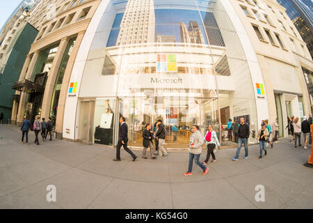 Microsoft flagship computer store, Fifth Avenue, Manhattan, New York, United States of America. - Stock Photo