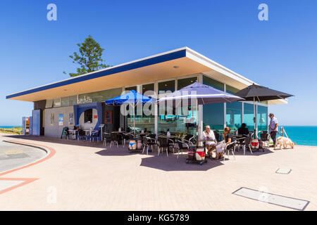 Iconic Cottesloe Beach restaurant Barchetta with sea views over the Indian Ocean off the Western Australia coast - Stock Photo