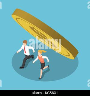 Flat 3d isometric business people running away from coin that falling. Financial crisis concept. - Stock Photo