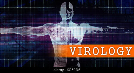 Virology Medical Industry with Human Body Scan Concept - Stock Photo