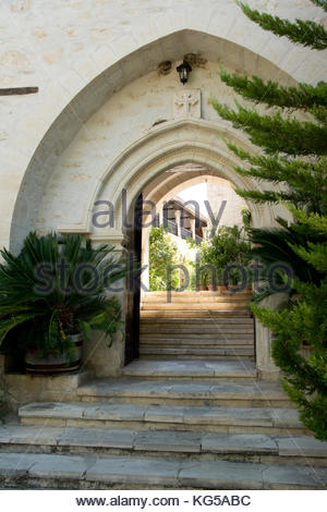 The entrance of a monastry in Cyprus - Stock Photo