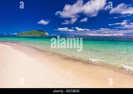 Vibrant tropical Lalomanu beach on Samoa Island, Upolu - Stock Photo