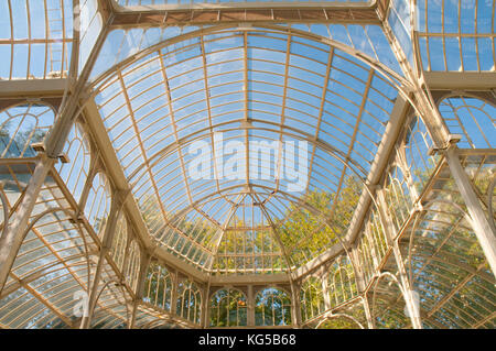 The Cristal Palace, indoor view. The Retiro park, Madrid, Spain. - Stock Photo