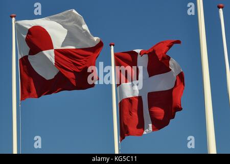 FLAGS of GREENLAND and DENMARK - Stock Photo