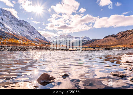 Beautiful autumn view with a mountain river, mountains covered with snow, golden larches and sun with glare on the - Stock Photo