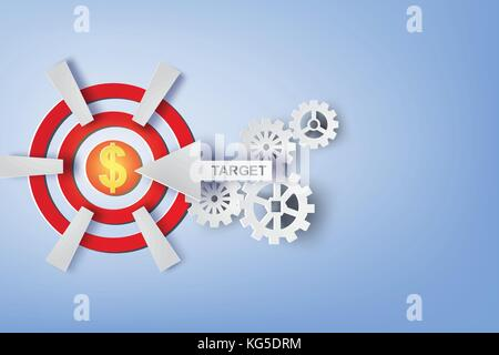 Paper art of Arrows flying shooting target with dollar in center.vector - Stock Photo