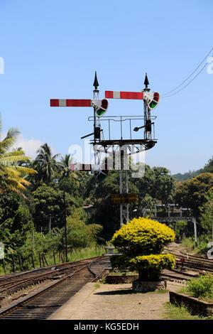 Peradeniya Junction Station Kandy Central Province Sri Lanka Signal - Stock Photo